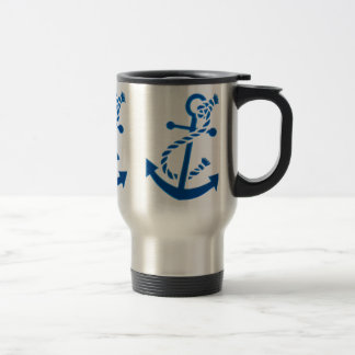 Blue Ship's Anchor Nautical Marine Themed 15 Oz Stainless Steel Travel Mug