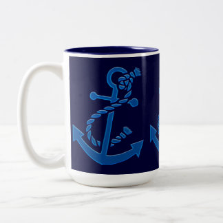 Blue Ship's Anchor Nautical Marine Themed Two-Tone Mug