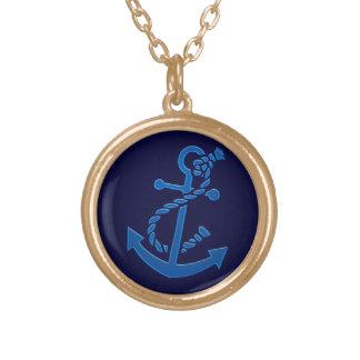 Blue Ship's Anchor Nautical Marine Themed Pendant