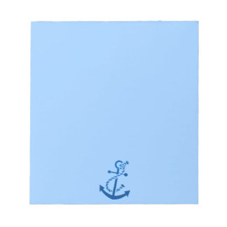 Blue Ship's Anchor Nautical Marine Themed Notepad
