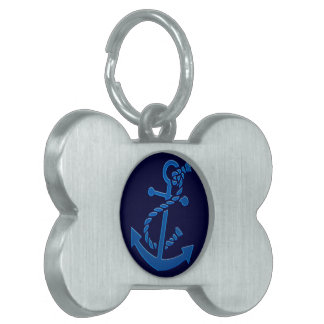 Blue Ship's Anchor Nautical Marine Themed Pet Name Tags