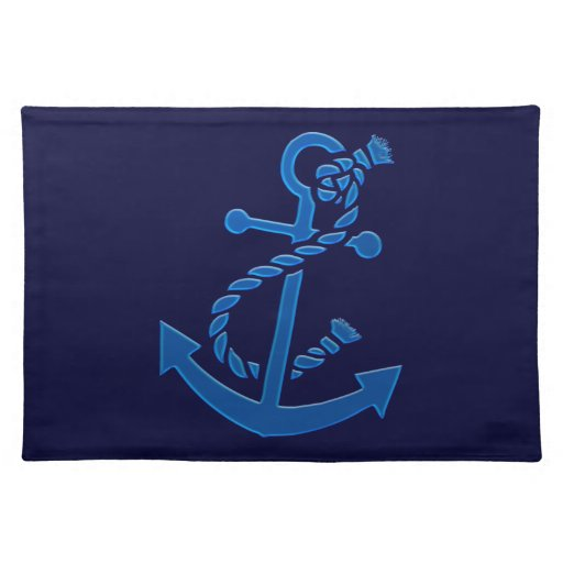 Blue Ship's Anchor Nautical Marine Themed Placemats
