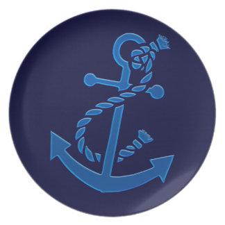 Blue Ship's Anchor Nautical Marine Themed Dinner Plates