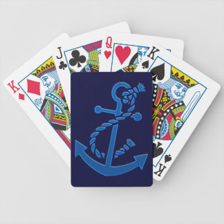 Blue Ship's Anchor Nautical Marine Themed Bicycle Poker Cards