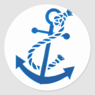 Blue Ship's Anchor Nautical Marine Themed Classic Round Sticker
