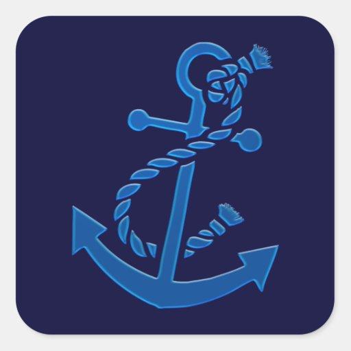 Blue Ship's Anchor Nautical Marine Themed Stickers