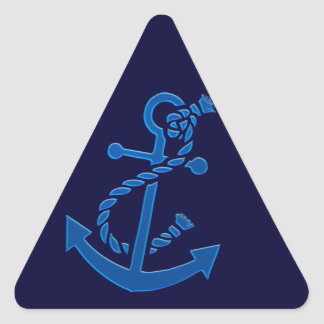 Blue Ship's Anchor Nautical Marine Themed Triangle Sticker