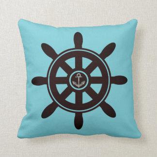 Blue Ship's Wheel Anchor Sailing Nautical Pillow