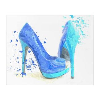 Blue shoes fashion glam watercolor acrylic wall art