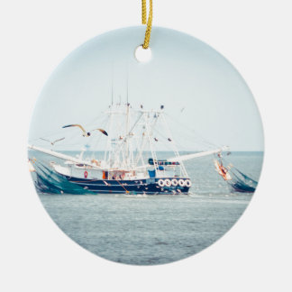 Blue Shrimp Boat on the Ocean Christmas Ornament