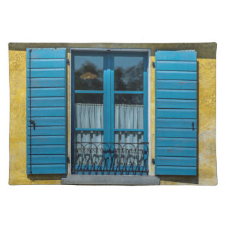 Blue shutters window placemat