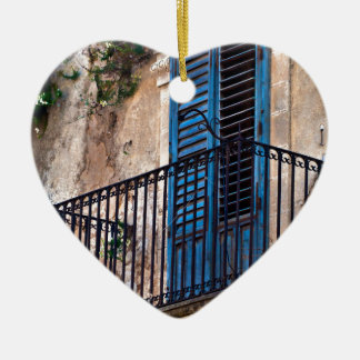 Blue Sicilian Door on the Balcony Ceramic Heart Decoration