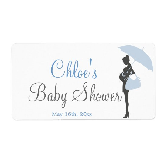 Blue Silhouette Baby Shower Water Bottle Labels