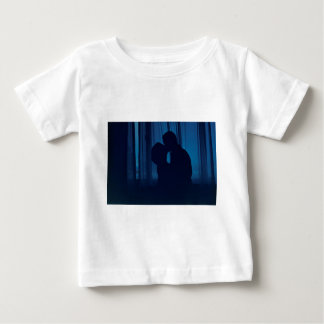 Blue silhouette couple kissing analogue film photo shirt
