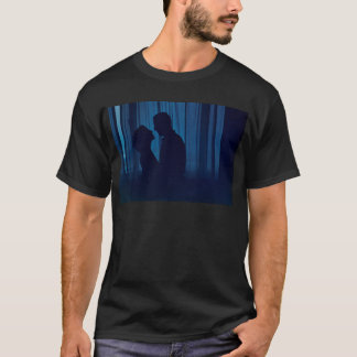 Blue silhouette couple kissing analogue film photo T-Shirt