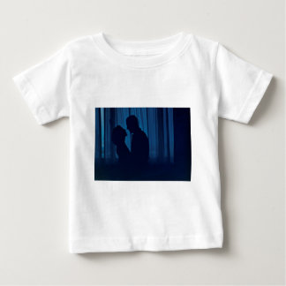 Blue silhouette couple kissing analogue film photo t-shirts