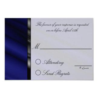 Blue Silk Reply Card 9 Cm X 13 Cm Invitation Card