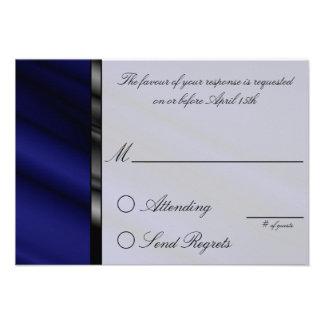 Blue Silk Reply Card Invites