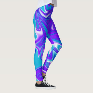 Blue Silky Marbleized Sky Abstract Pattern, Leggings