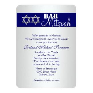 Blue silver bar mitzvah celebrations #5 card