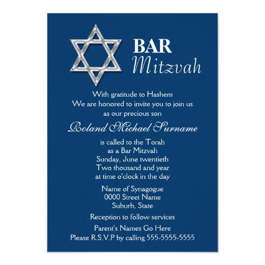 Blue silver bar mitzvah celebrations card
