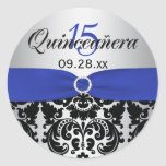 Blue, Silver, Black Damask Quinceanera Sticker
