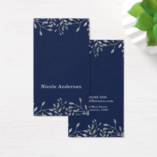 Blue & Silver Botanical Modern Elegant Chic Business