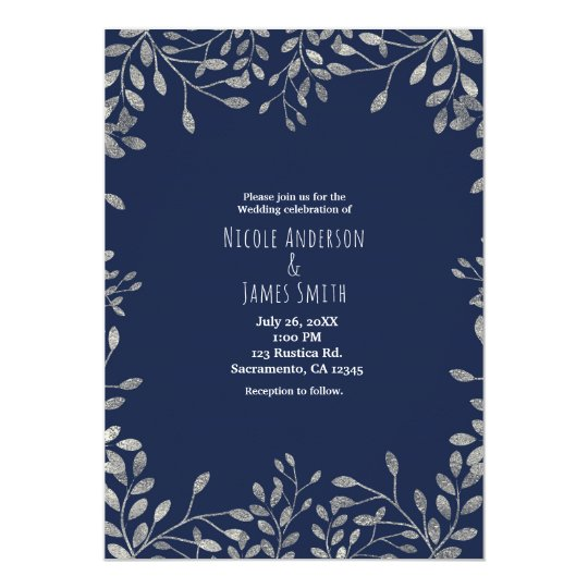 Blue & Silver Botanical Modern Wedding Invitations