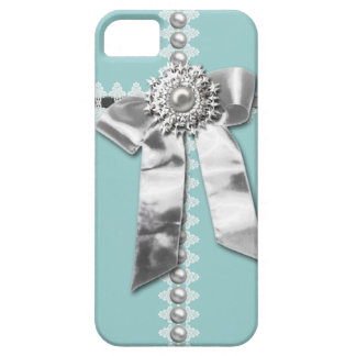 Blue Silver Bow Pearl Jewel Printed iPhone 5 Case