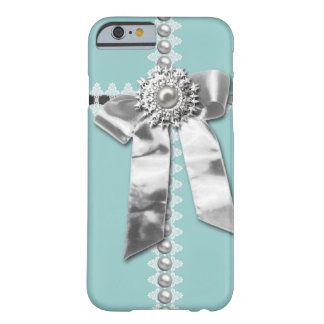 Blue Silver Bow Pearl Jewel Printed iPhone 6 case