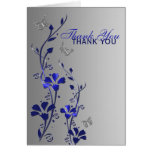 Blue Silver Butterfly Floral Thank You Note Card