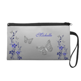 Blue Silver Butterfly Floral Wristlet Bag 2