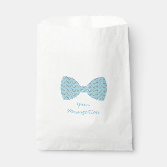 Blue & Silver Chevron Bow Tie Baby Shower