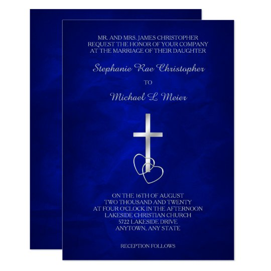 Blue Silver Christian Cross Wedding Invitation