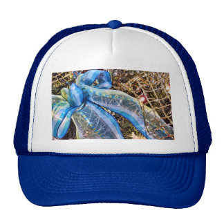 Blue & Silver Christmas Bow w/ Gold Mesh Garland Trucker Hats