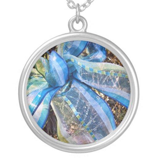 Blue & Silver Christmas Bow w/ Gold Mesh Garland Pendant