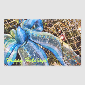Blue & Silver Christmas Bows w Gold Mesh Garland Rectangular Sticker
