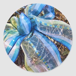 Blue & Silver Christmas Bows w Gold Mesh Garland Round Sticker