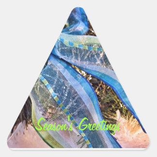 Blue & Silver Christmas Bows w Gold Mesh Garland Triangle Sticker