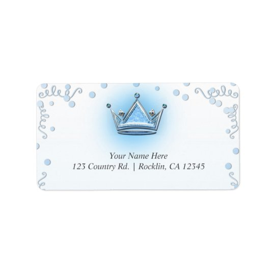 Blue & Silver Crown Party Confetti Invitation Address Label