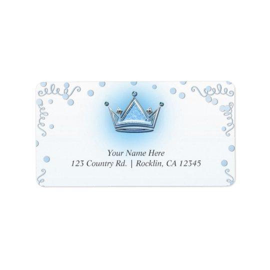 Blue & Silver Crown Party Confetti Invitation Label