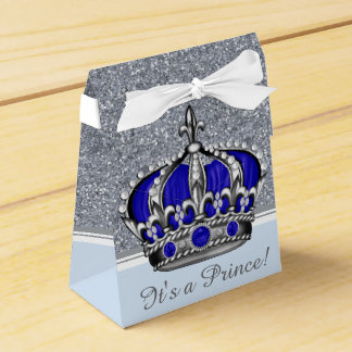 Blue Silver Crown Prince Boy Baby Shower Favour Box