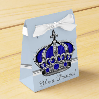 Blue Silver Crown Prince Boy Baby Shower Party Favour Box