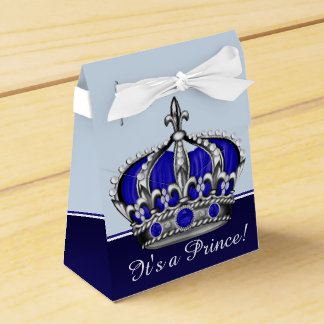 Blue Silver Crown Prince Boy Baby Shower Party Favour Boxes
