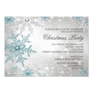 Blue & Silver Crystal Snowflake Christmas Party 13 Cm X 18 Cm Invitation Card