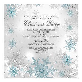 Blue Silver Crystal Snowflake Christmas Party SQ 13 Cm X 13 Cm Square Invitation Card