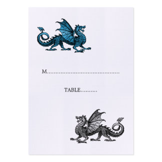 Blue Silver Dragon Wedding Place Card Pack Of Chubby Business Cards