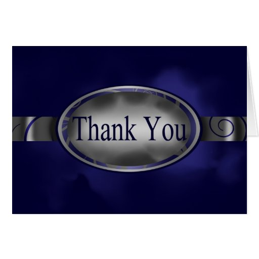 Blue & Silver Floral Button Thank You Card