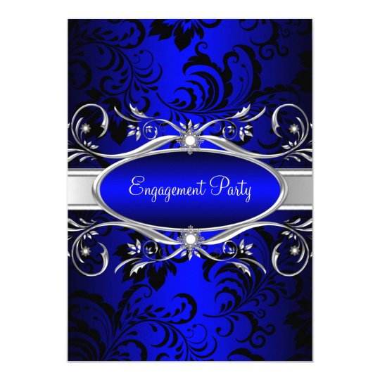 Blue Silver Floral Swirl Engagement Party Card