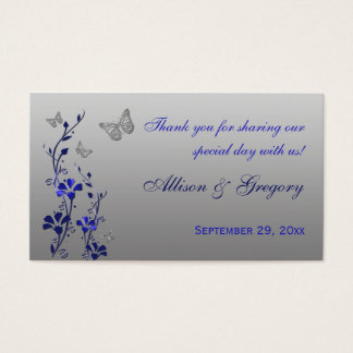 Blue, Silver Floral with Butterflies Favor Tag Business Card